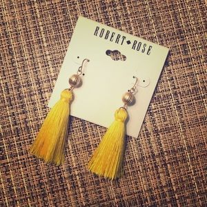 NEW Robert Rose Yellow Tassel Earrings